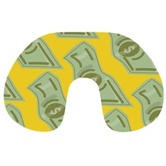 Money Dollar $ Sign Green Yellow Travel Neck Pillows by Alisyart