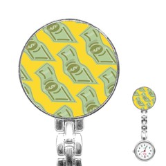 Money Dollar $ Sign Green Yellow Stainless Steel Nurses Watch by Alisyart