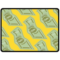 Money Dollar $ Sign Green Yellow Double Sided Fleece Blanket (large)  by Alisyart