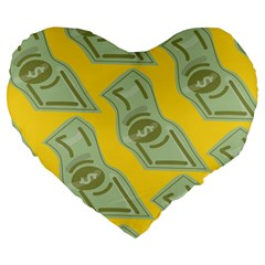 Money Dollar $ Sign Green Yellow Large 19  Premium Flano Heart Shape Cushions by Alisyart