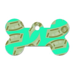 Money Dollar $ Sign Green Dog Tag Bone (two Sides) by Alisyart