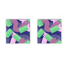 Money Dollar Green Purple Pink Cufflinks (square) by Alisyart