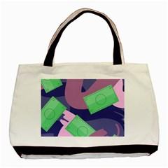 Money Dollar Green Purple Pink Basic Tote Bag by Alisyart