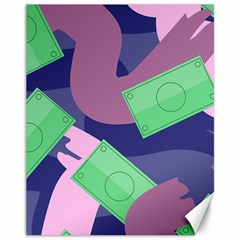 Money Dollar Green Purple Pink Canvas 11  X 14   by Alisyart