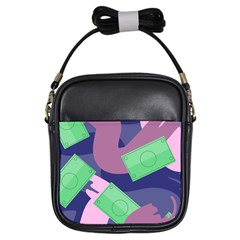 Money Dollar Green Purple Pink Girls Sling Bags by Alisyart