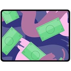 Money Dollar Green Purple Pink Fleece Blanket (large)  by Alisyart