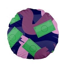 Money Dollar Green Purple Pink Standard 15  Premium Flano Round Cushions by Alisyart
