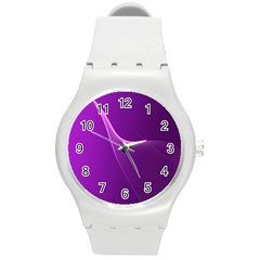 Purple Line Round Plastic Sport Watch (m) by Alisyart