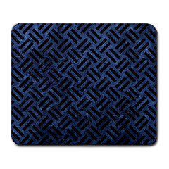 Woven2 Black Marble & Blue Stone (r) Large Mousepad by trendistuff