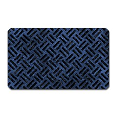 Woven2 Black Marble & Blue Stone (r) Magnet (rectangular) by trendistuff