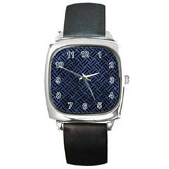 Woven2 Black Marble & Blue Stone (r) Square Metal Watch by trendistuff