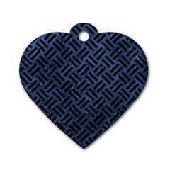 Woven2 Black Marble & Blue Stone (r) Dog Tag Heart (two Sides) by trendistuff