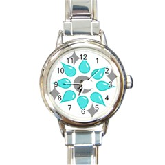 Moon Water Star Grey Blue Round Italian Charm Watch by Alisyart