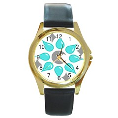 Moon Water Star Grey Blue Round Gold Metal Watch by Alisyart