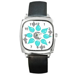 Moon Water Star Grey Blue Square Metal Watch by Alisyart