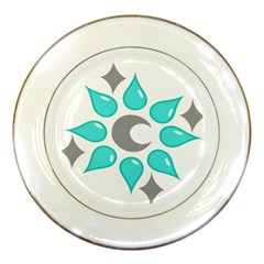 Moon Water Star Grey Blue Porcelain Plates by Alisyart