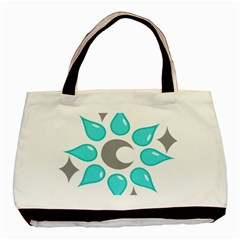 Moon Water Star Grey Blue Basic Tote Bag (two Sides) by Alisyart