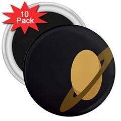 Saturn Ring Planet Space Orange 3  Magnets (10 Pack)  by Alisyart