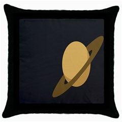 Saturn Ring Planet Space Orange Throw Pillow Case (black) by Alisyart