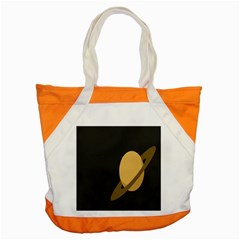 Saturn Ring Planet Space Orange Accent Tote Bag by Alisyart