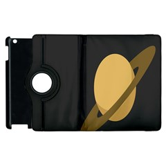 Saturn Ring Planet Space Orange Apple Ipad 3/4 Flip 360 Case by Alisyart