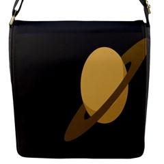 Saturn Ring Planet Space Orange Flap Messenger Bag (s) by Alisyart