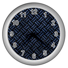 Woven2 Black Marble & Blue Stone Wall Clock (silver) by trendistuff