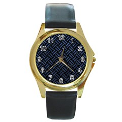 Woven2 Black Marble & Blue Stone Round Gold Metal Watch by trendistuff