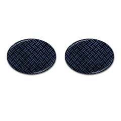 Woven2 Black Marble & Blue Stone Cufflinks (oval) by trendistuff