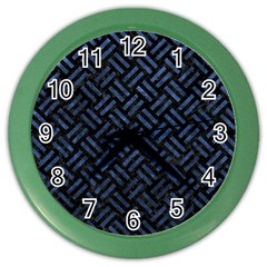 Woven2 Black Marble & Blue Stone Color Wall Clock by trendistuff