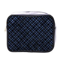 Woven2 Black Marble & Blue Stone Mini Toiletries Bag (one Side) by trendistuff
