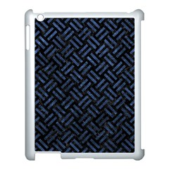 Woven2 Black Marble & Blue Stone Apple Ipad 3/4 Case (white) by trendistuff