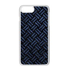 Woven2 Black Marble & Blue Stone Apple Iphone 7 Plus White Seamless Case by trendistuff
