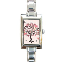 Tree Butterfly Insect Leaf Pink Rectangle Italian Charm Watch by Alisyart
