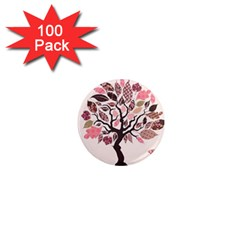 Tree Butterfly Insect Leaf Pink 1  Mini Magnets (100 Pack)  by Alisyart