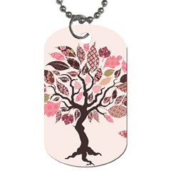 Tree Butterfly Insect Leaf Pink Dog Tag (two Sides) by Alisyart