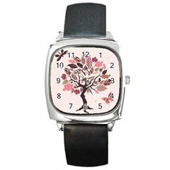 Tree Butterfly Insect Leaf Pink Square Metal Watch by Alisyart