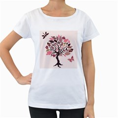 Tree Butterfly Insect Leaf Pink Women s Loose Fit T Shirt (white) by Alisyart