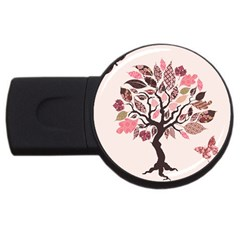 Tree Butterfly Insect Leaf Pink Usb Flash Drive Round (4 Gb) by Alisyart