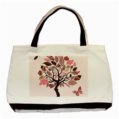 Tree Butterfly Insect Leaf Pink Basic Tote Bag by Alisyart