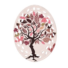 Tree Butterfly Insect Leaf Pink Oval Filigree Ornament (two Sides) by Alisyart