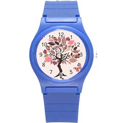 Tree Butterfly Insect Leaf Pink Round Plastic Sport Watch (s) by Alisyart
