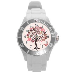 Tree Butterfly Insect Leaf Pink Round Plastic Sport Watch (l) by Alisyart