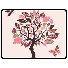 Tree Butterfly Insect Leaf Pink Double Sided Fleece Blanket (large)  by Alisyart