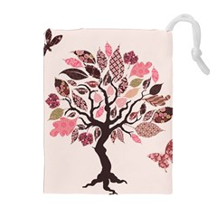 Tree Butterfly Insect Leaf Pink Drawstring Pouches (extra Large) by Alisyart