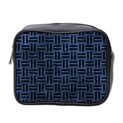 Woven1 Black Marble & Blue Stone (r) Mini Toiletries Bag (two Sides) by trendistuff