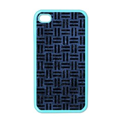 Woven1 Black Marble & Blue Stone (r) Apple Iphone 4 Case (color) by trendistuff