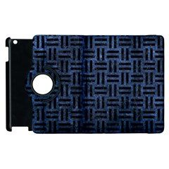 Woven1 Black Marble & Blue Stone (r) Apple Ipad 3/4 Flip 360 Case by trendistuff