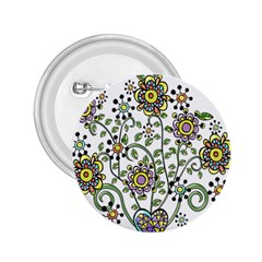 Frame Flower Floral Sun Purple Yellow Green 2 25  Buttons by Alisyart