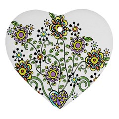 Frame Flower Floral Sun Purple Yellow Green Ornament (heart) by Alisyart